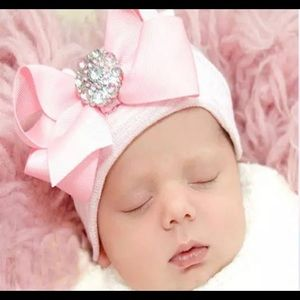 Baby Hat with Bow and Rhinestone Accent